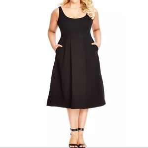City Chic Classic Longline Scoop Neck Midi Black